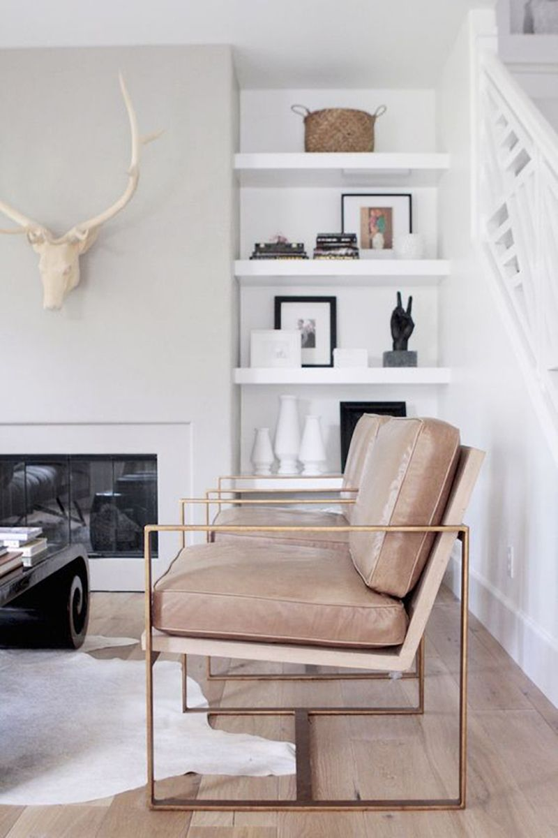 Neutral statement chair with gold frame via Becki Owens