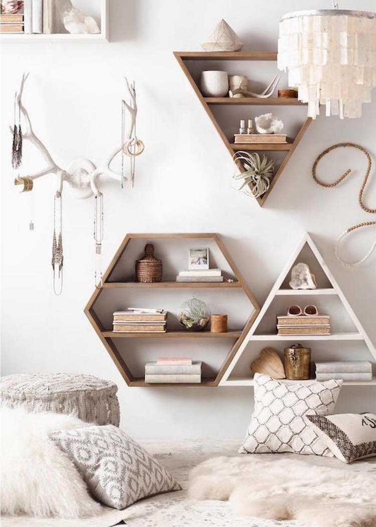 Neutral triangle wall shelves via RH Teen
