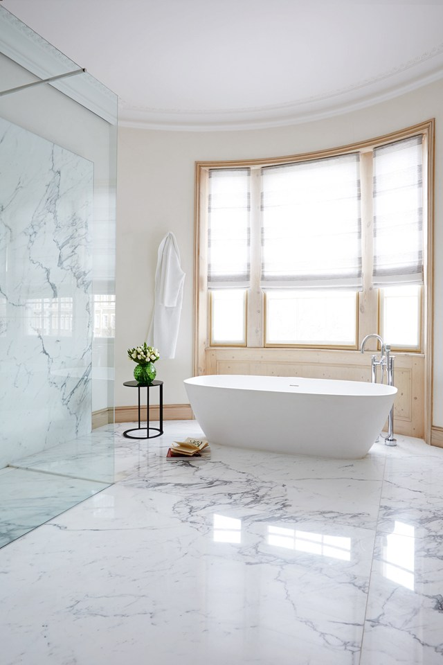 Open calacatta marble bathroom