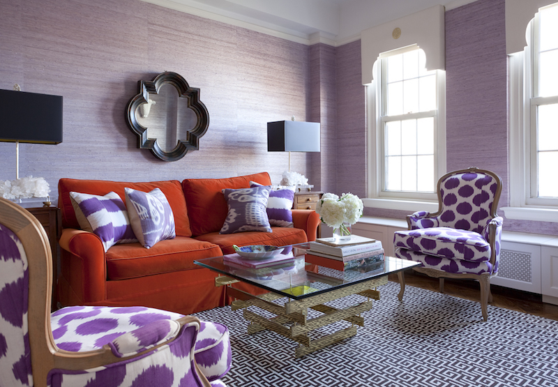 Orange and purple living room via Lilly Bunn