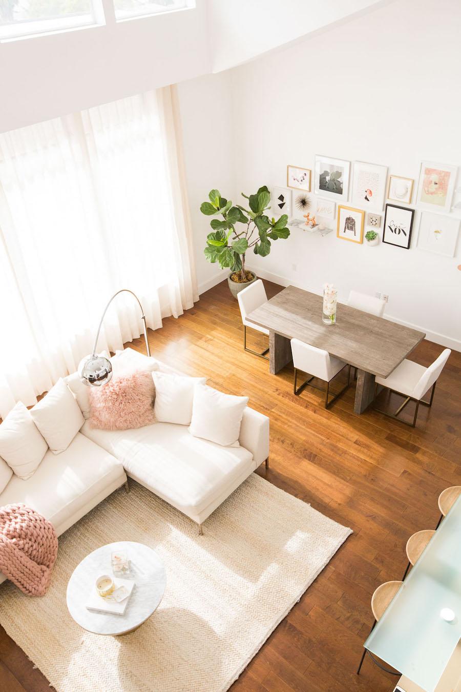 Overhead view of Marianna Hewitt's living room