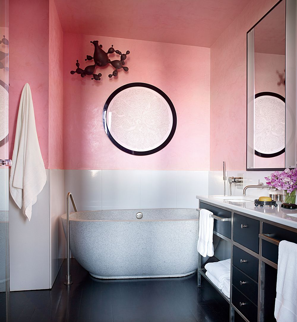Pink half-tone wall via Architectural Digest
