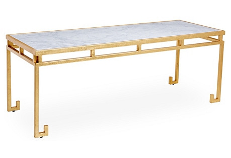 Rossmoor Marble Coffee Table, Gold