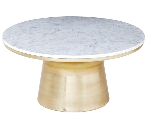 Round white marble coffee table with thick brass gold base