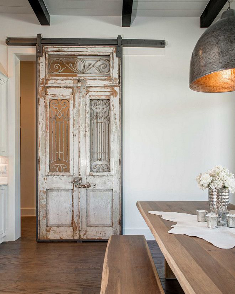 Sliding barn door rustic kitchen ideas #rusticdecor