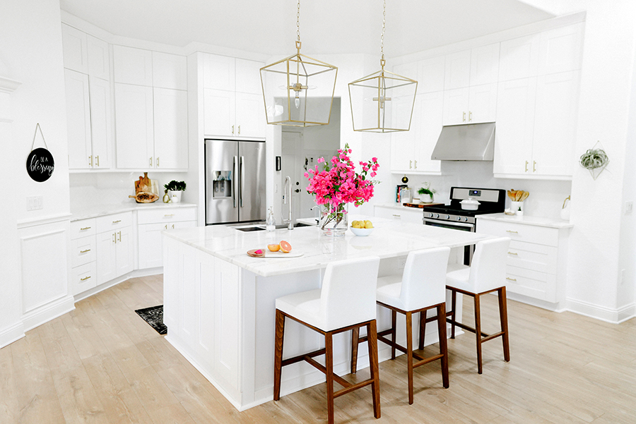 Spacious white marble kitchen