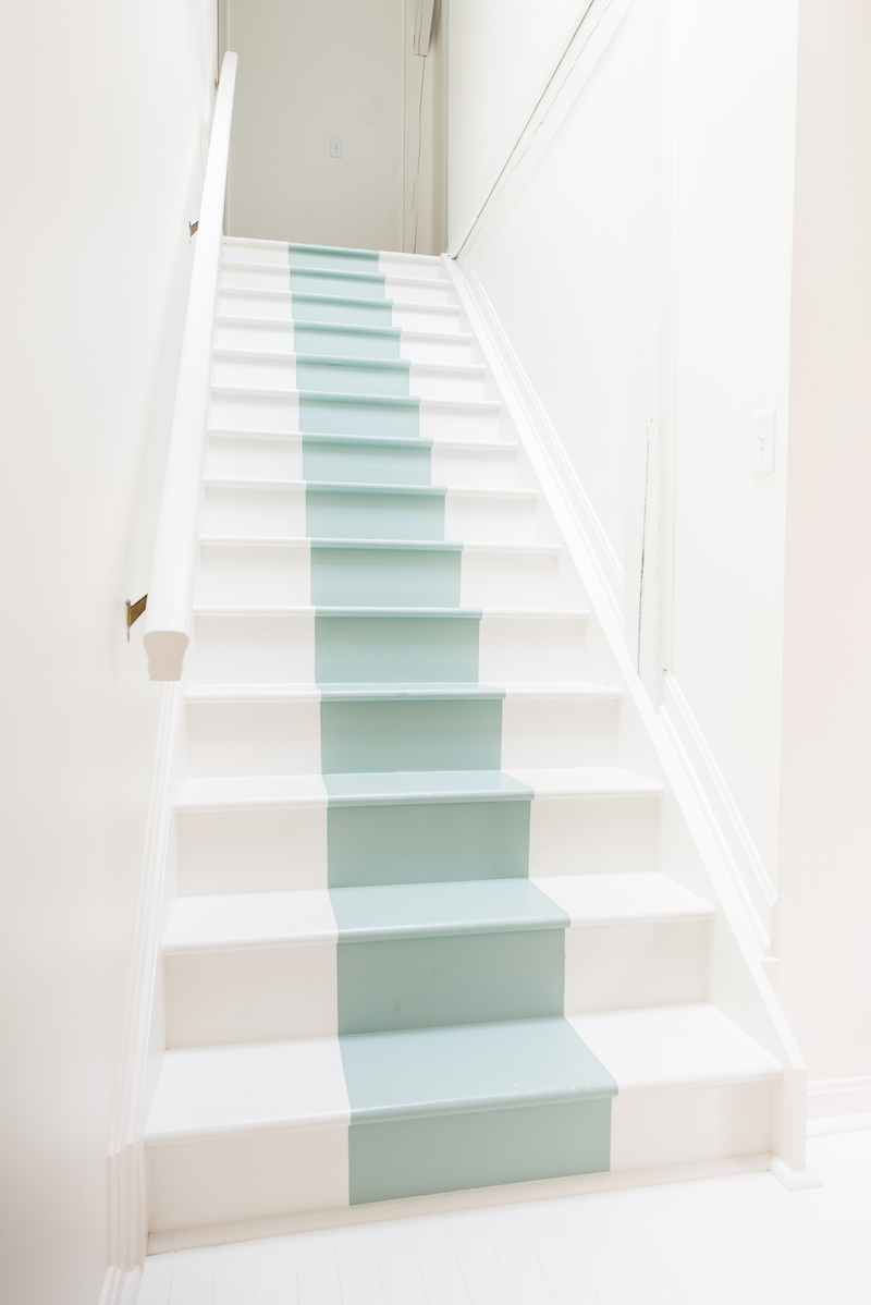 Staircase with pale blue stripe