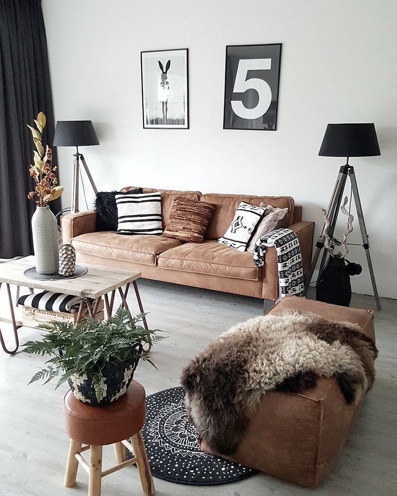 10 beautiful brown leather sofas - Salones sencillos ...