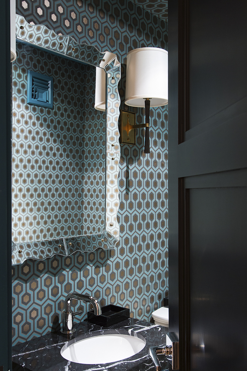 Turquoise patterned wallpaper bathroom via Lilly Bunn
