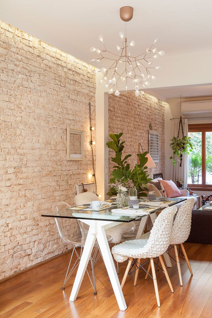 White brick wall dining room