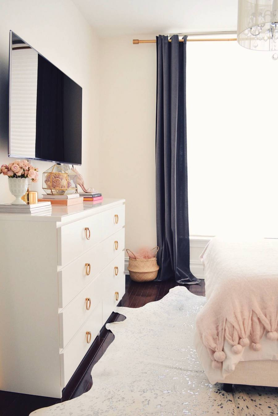 White dresser with gold pulls