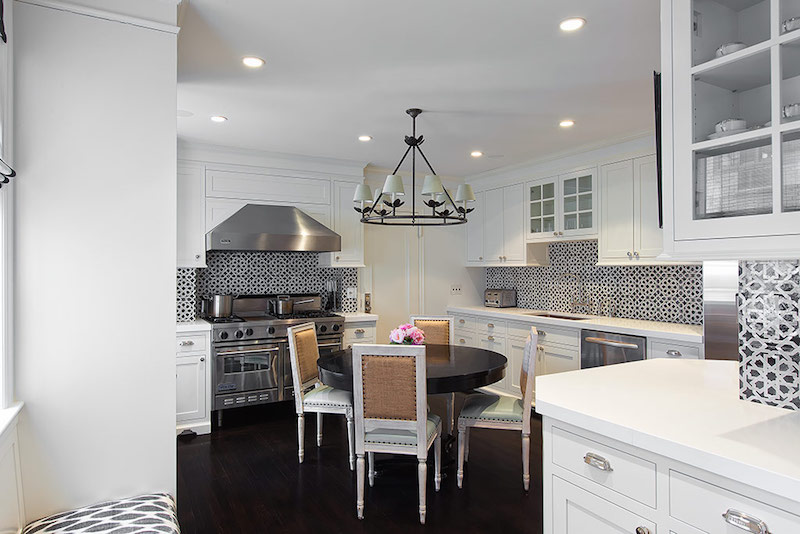 White kitchen with patterned backsplash via Lilly Bunn