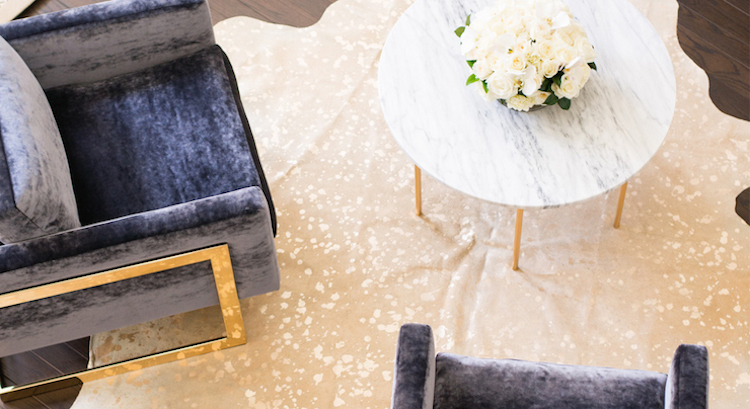 White marble coffee table and grey velvet chairs via Shannon Wollack