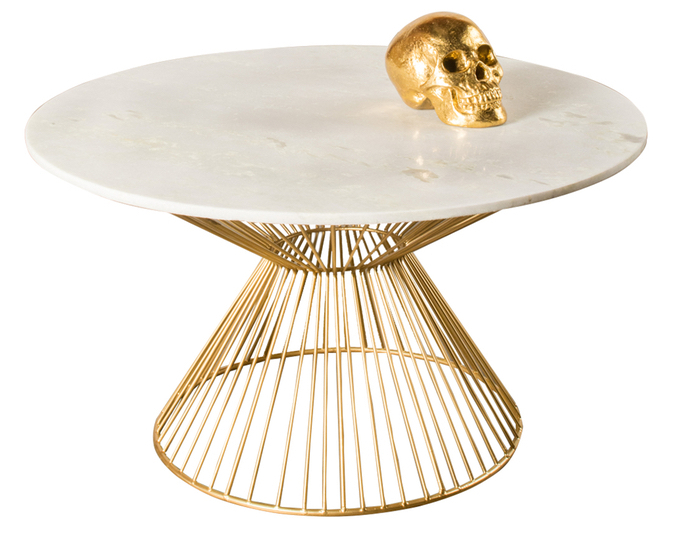 White marble coffee table with gold skull