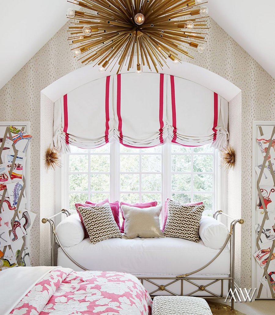 Alcove with gold starburst chandelier via Megan Winters Design