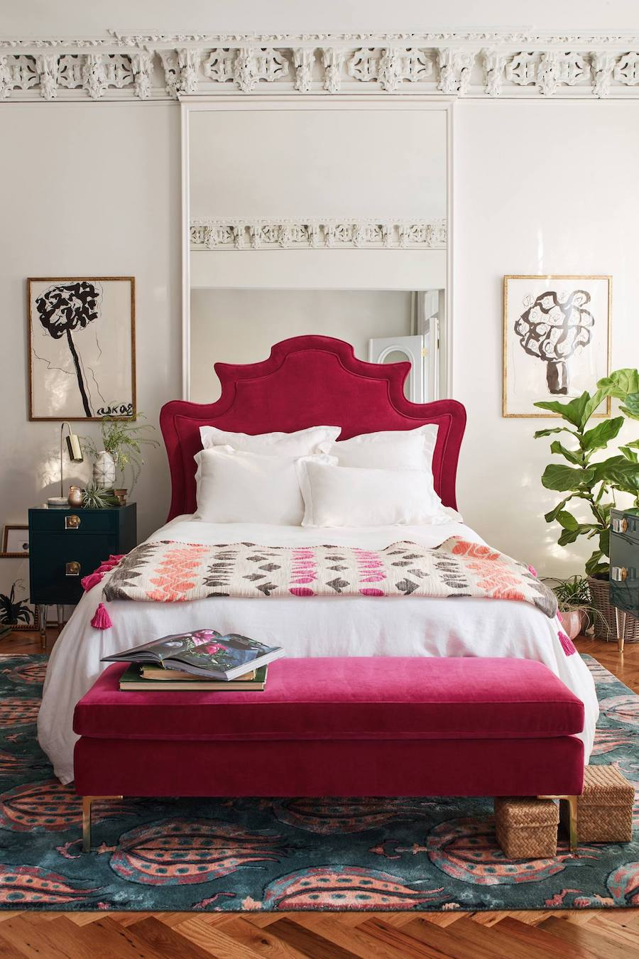 Anthropologie pink velvet headboard