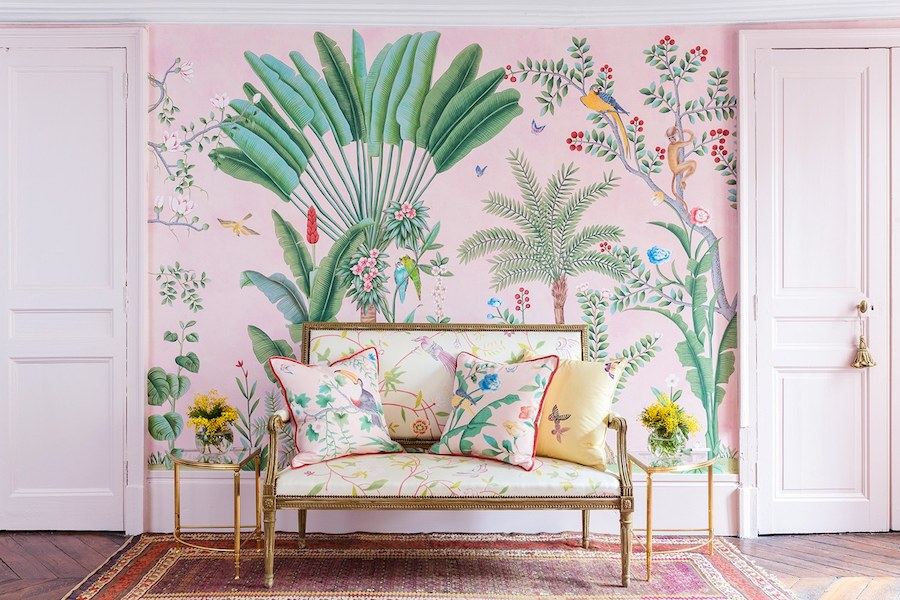 Aquazzura for de Gournay Wallpaper with blush doors