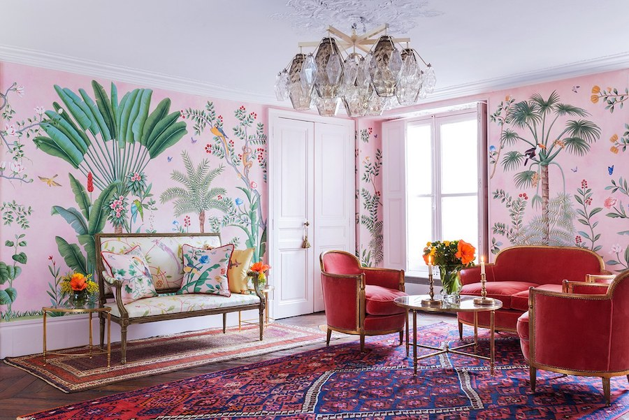 Aquazzura for de Gournay Wallpaper with french furniture
