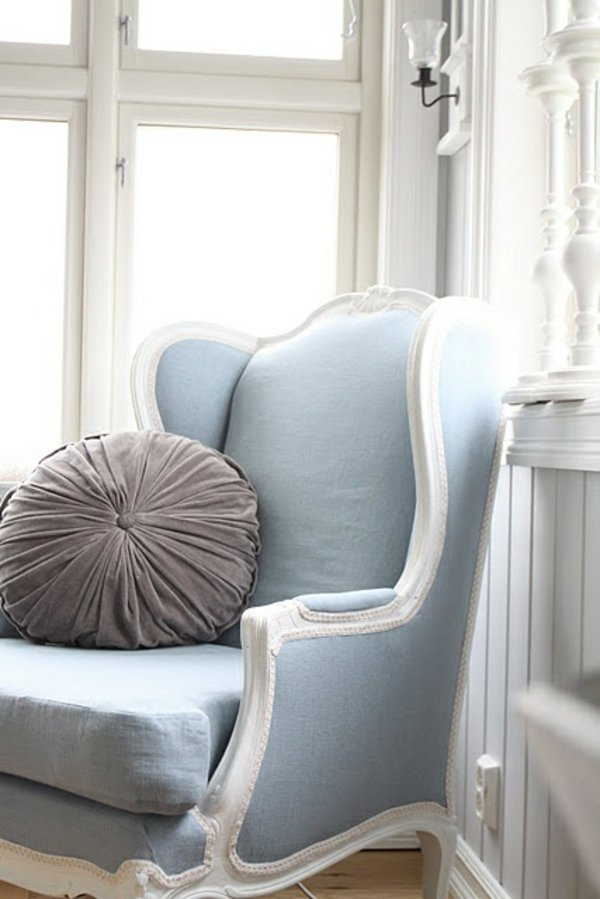 Baby blue antique french wingback chair