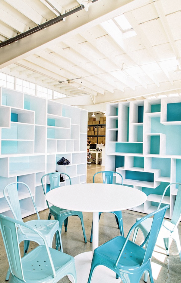 Baby blue folix chairs dining space via megbiram