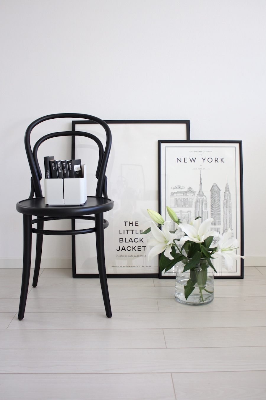 Black bentwood chair with New York poster