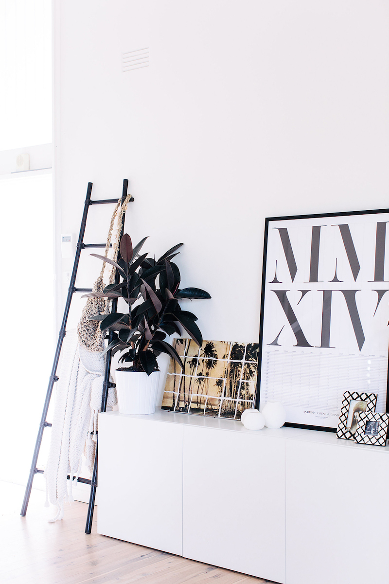 Black ladder as decor