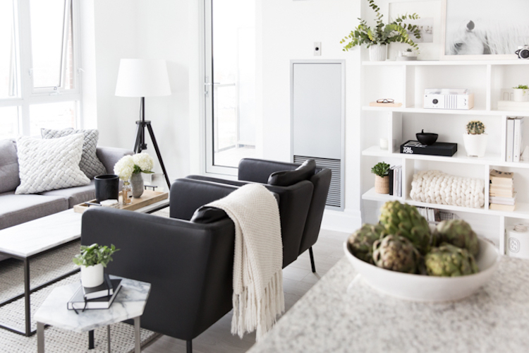 Black sitting chairs in living room