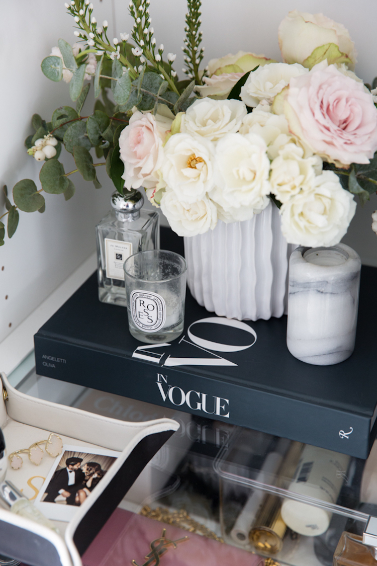 Black vogue book with flowers