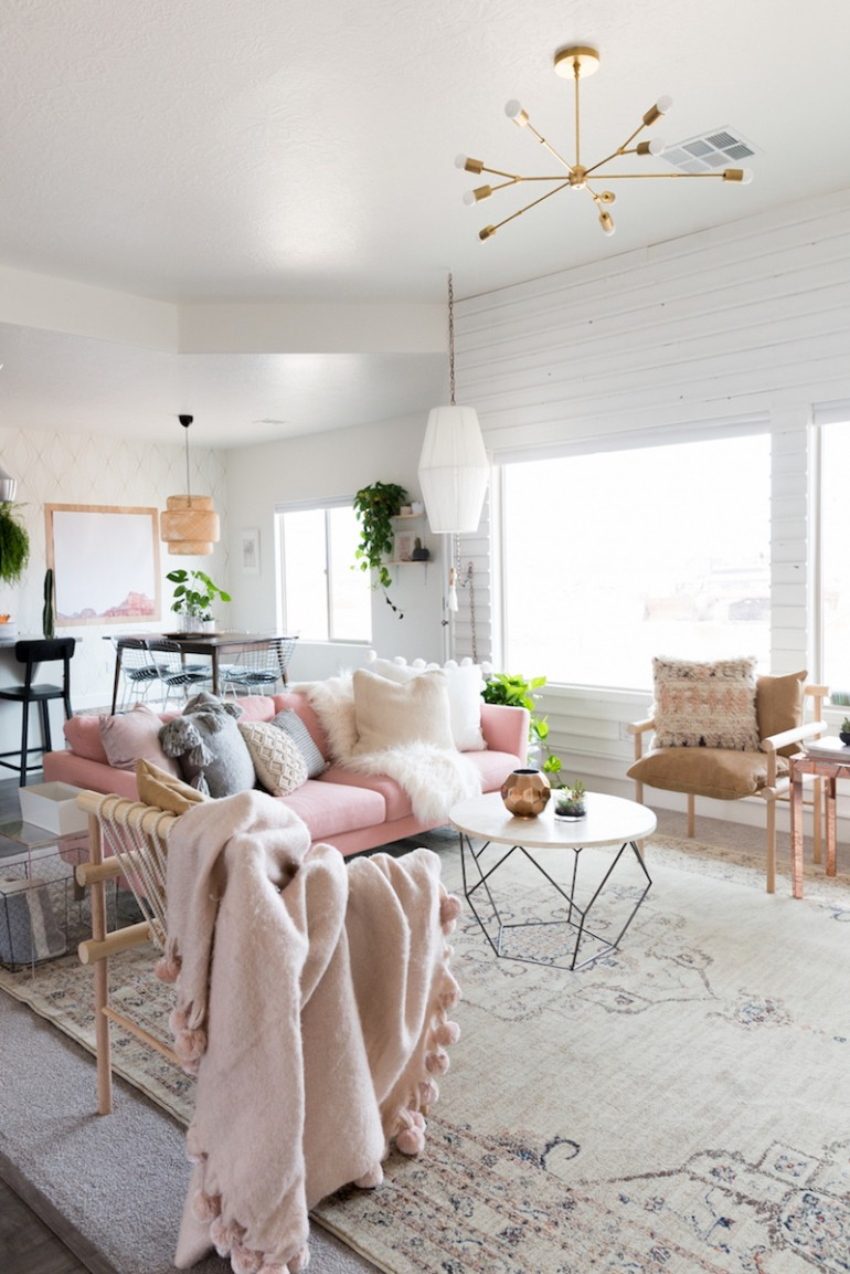 chic living room update with a gorgeous pink sofa