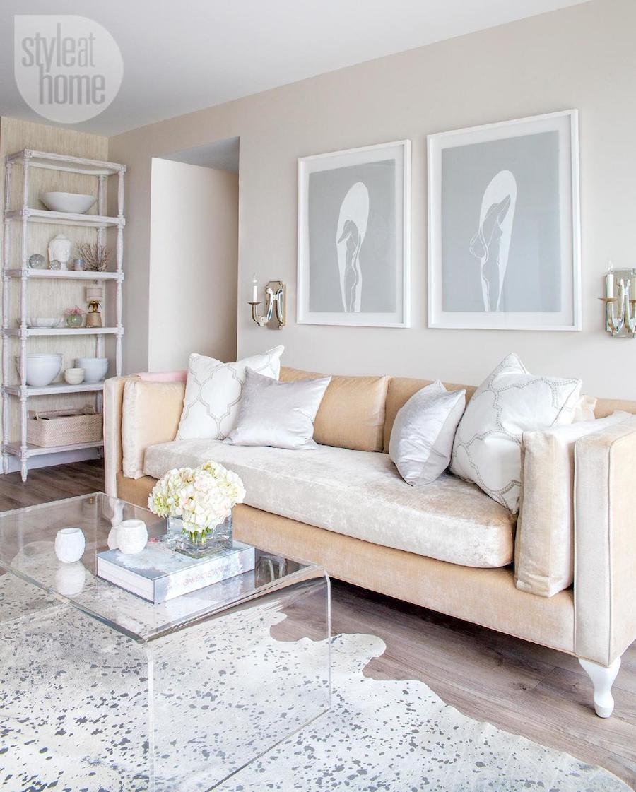Champagne colored sofa