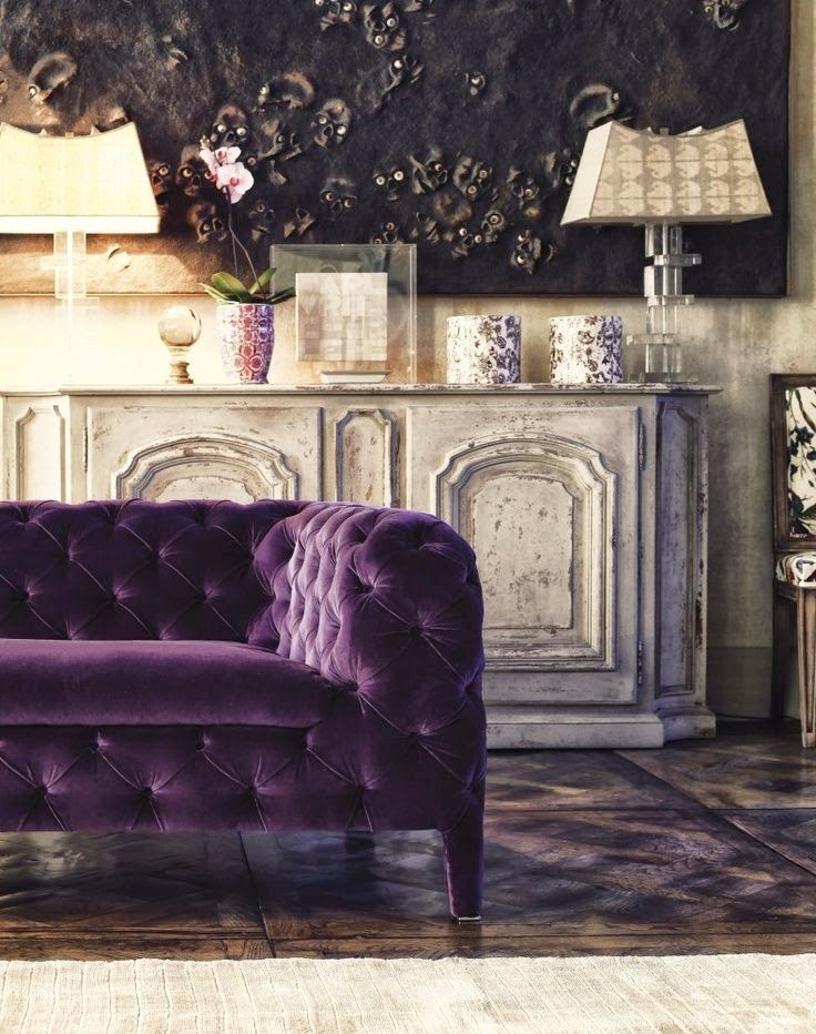 Chesterfield velvet purple sofa via House Beautiful