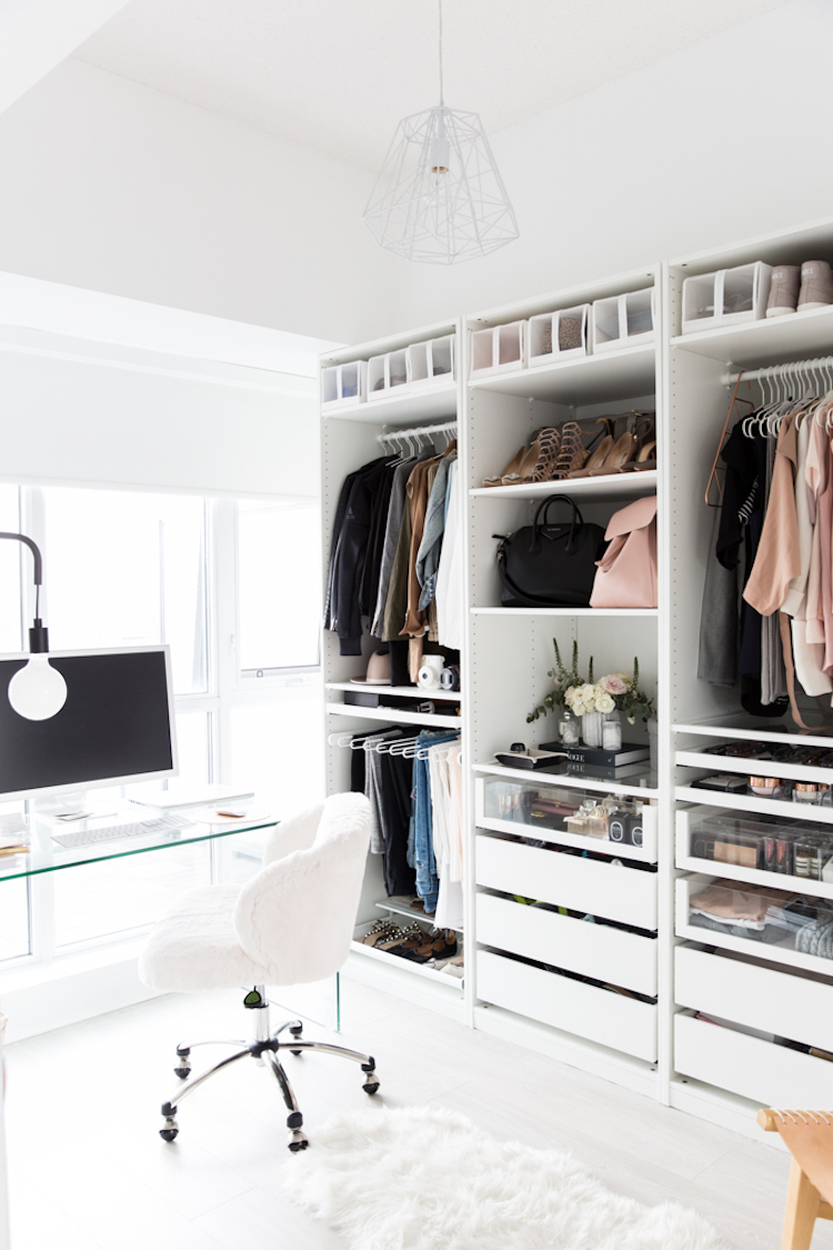 Closet and office desk combination