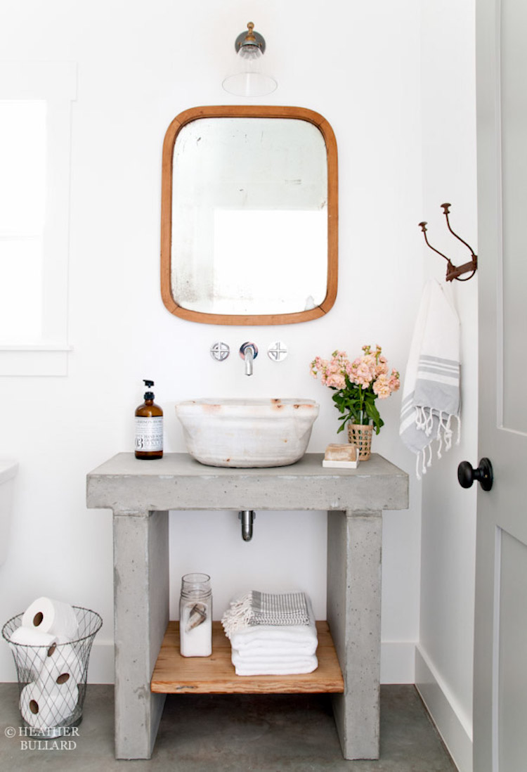 Concrete Vanity with Marbled Vessel Sink