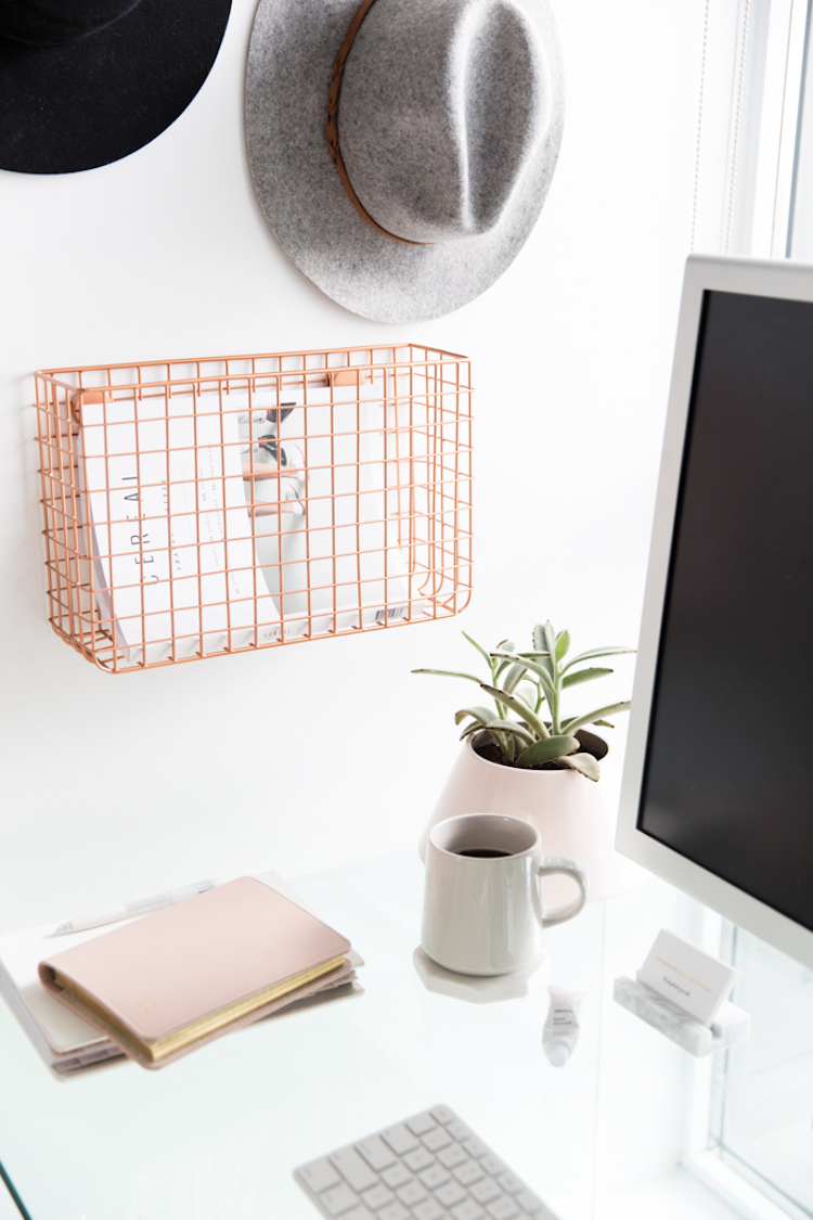 Copper wall shelf on desk