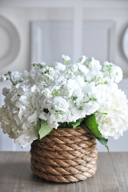 DIY Rope-wrapped vase via Bungalow Blue Interiors