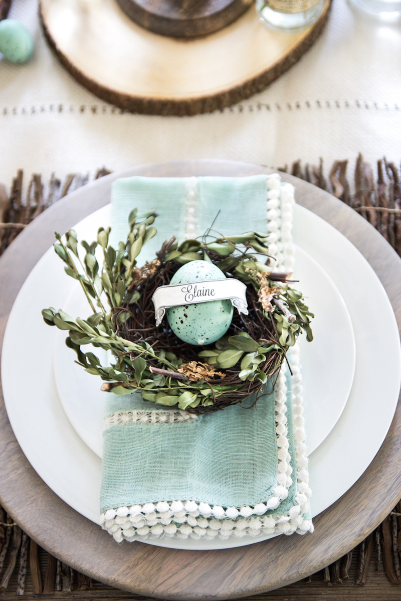 Easter brunch egg name table setting