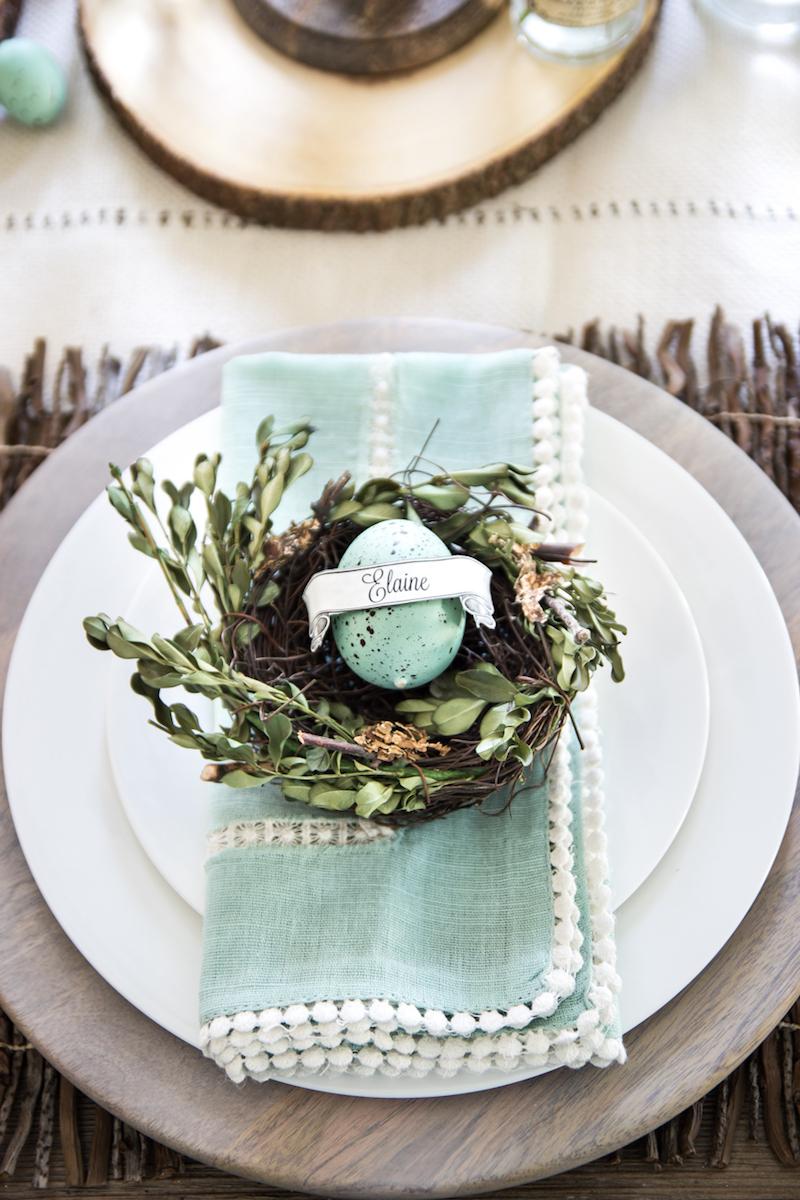 Easter brunch egg name table setting
