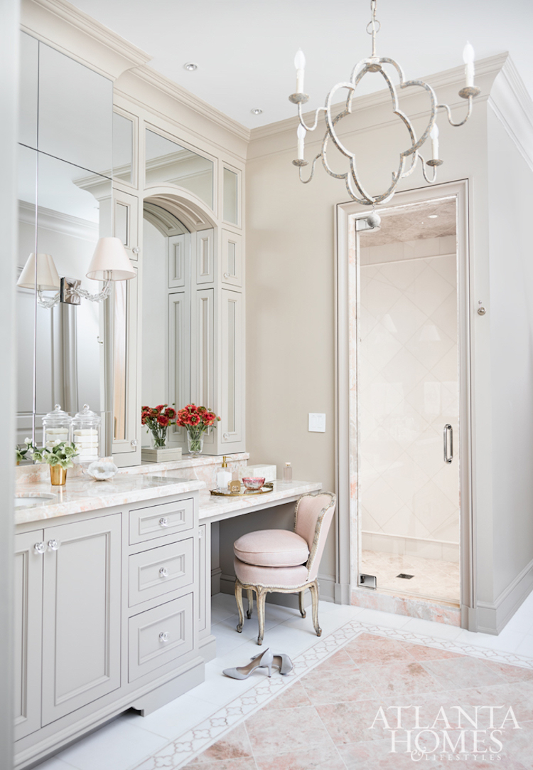Feminine Atlanta bathroom vanity