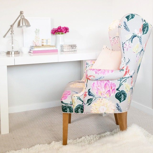 Floral wingback chair via amy lipnis