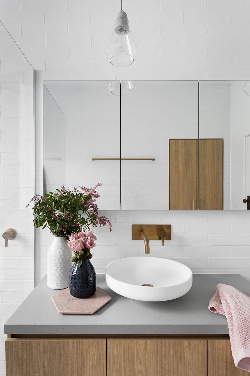 Gray Subway Tiling In A Serene Pink Amp White Bathroom