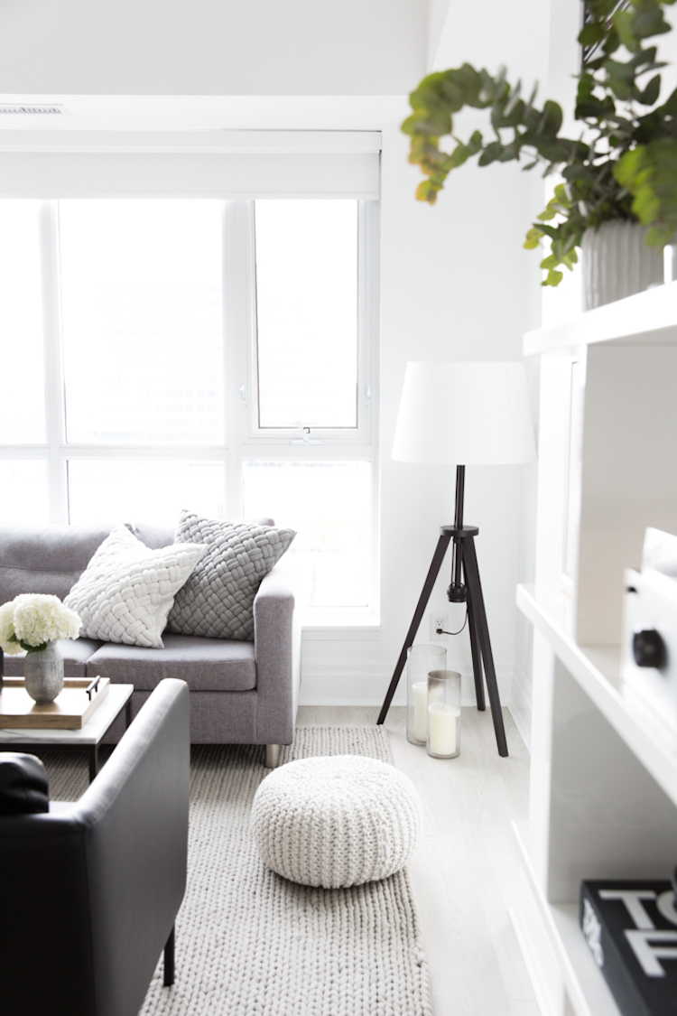 Gray sofa in neutral living room