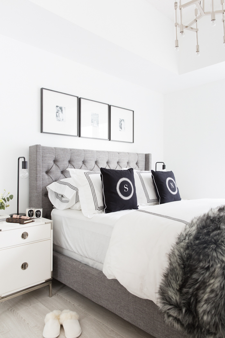 Gray wingback headboard bedroom