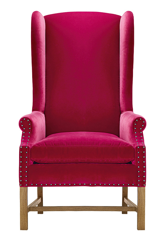 Hot Pink wing Chair via lee industries