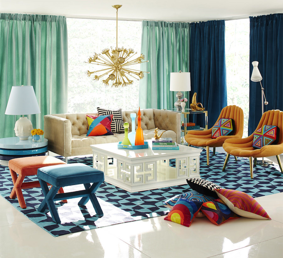 Jonathan Adler living room with starburst chandelier