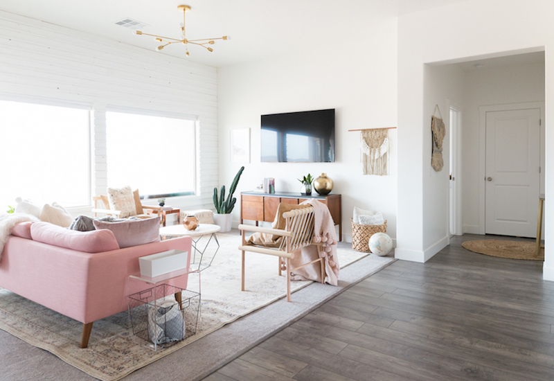 Living room with soft pink sofa