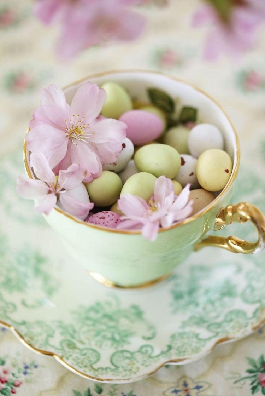 Mini easter eggs inside turquoise teacup