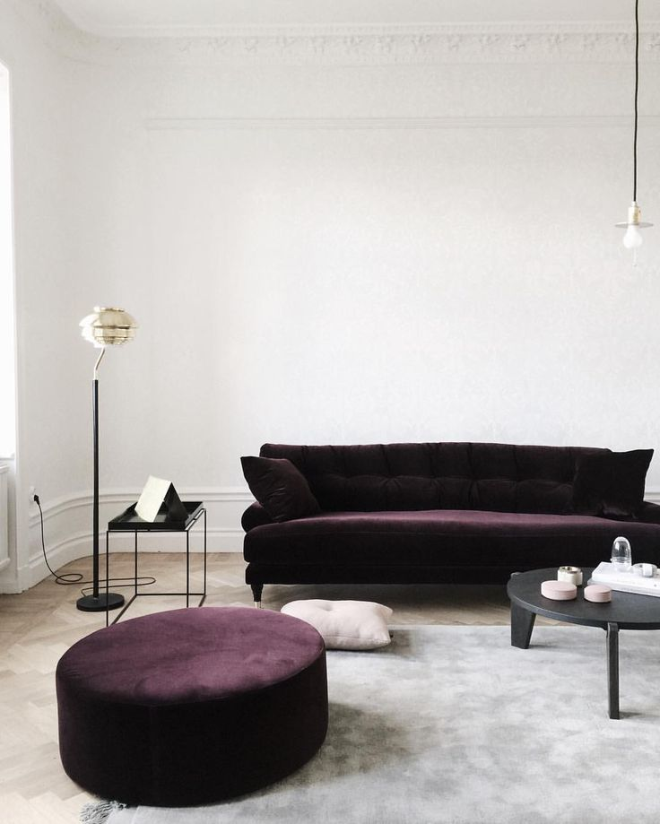 Minimalist purple velvet sofa