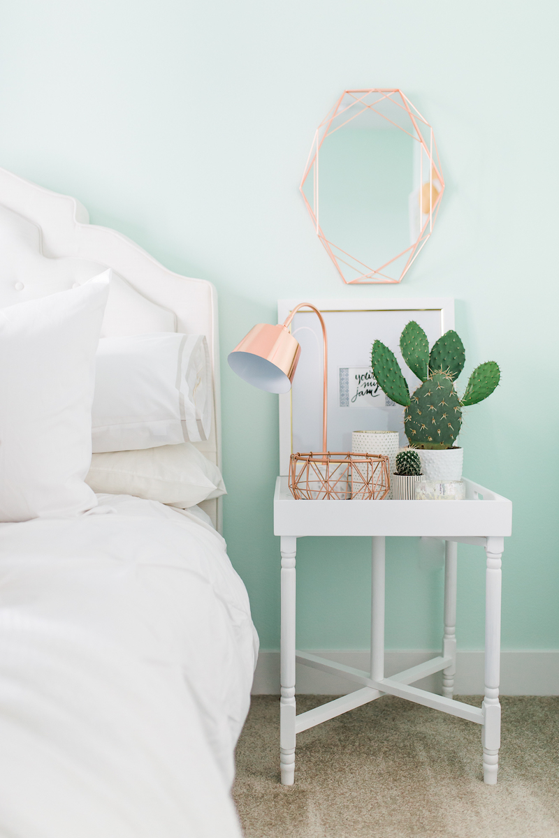 Mint bedroom wall via Mckenna Bleu
