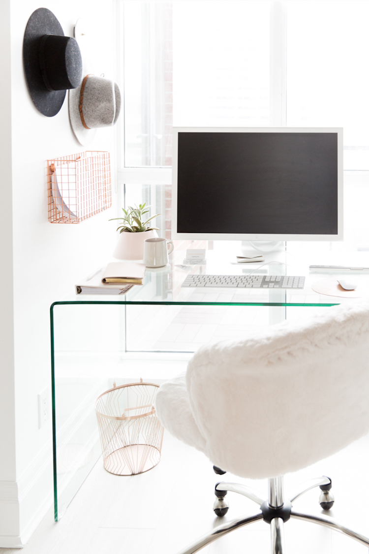 Office desk with white fur chair