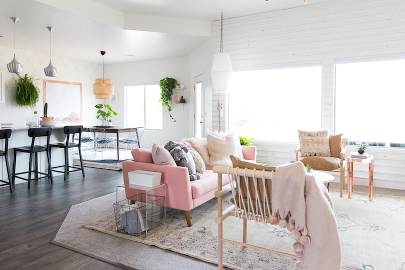 Pale pink sofa in living room